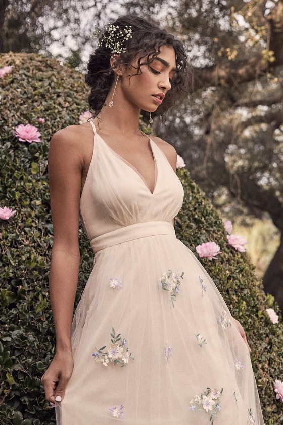 3a37f036e43 Lovely Tulle Dress - Beige Embroidered Dress - Floral Dress