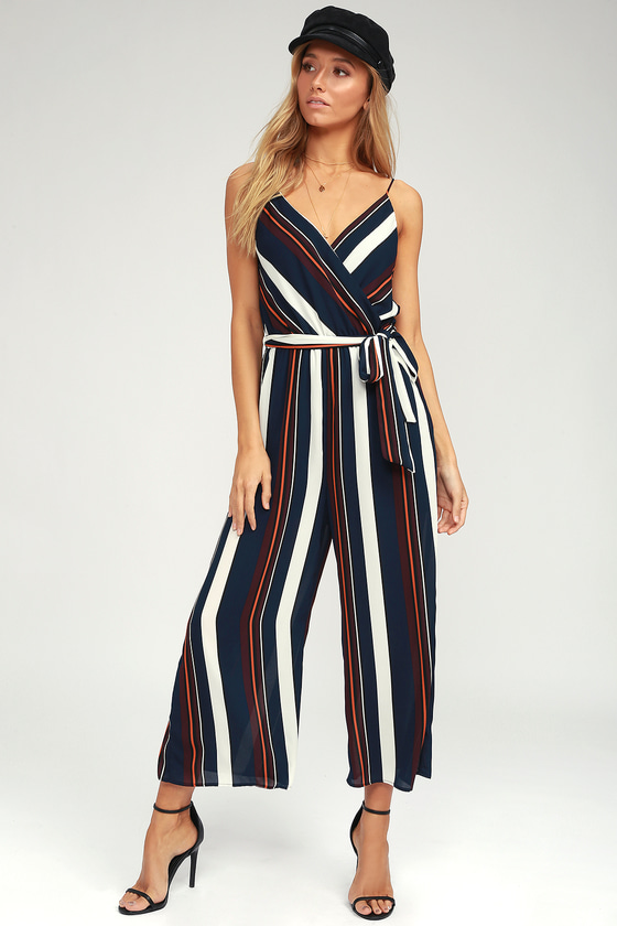 0c1de6579f3 Chic Navy Blue and Orange Striped Jumpsuit -Culotte Jumpsuit