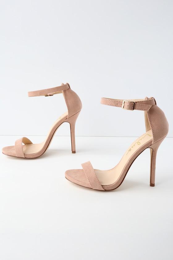 504bef36e4e9 Cute Mauve Heels - Single Strap Heels - Vegan Suede Heels