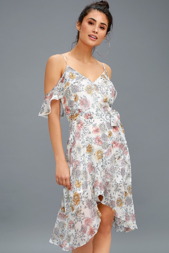 5032c79dbcd Lovely White Floral Print Dress - High-Low Dress
