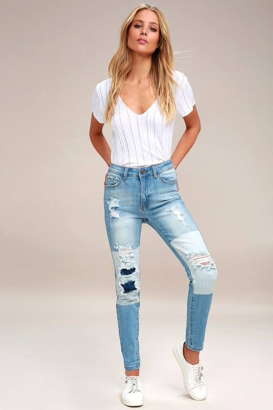 ba0c45cfa35 Cool Distressed Jeans - Two-Tone Jeans - Light Wash Jeans