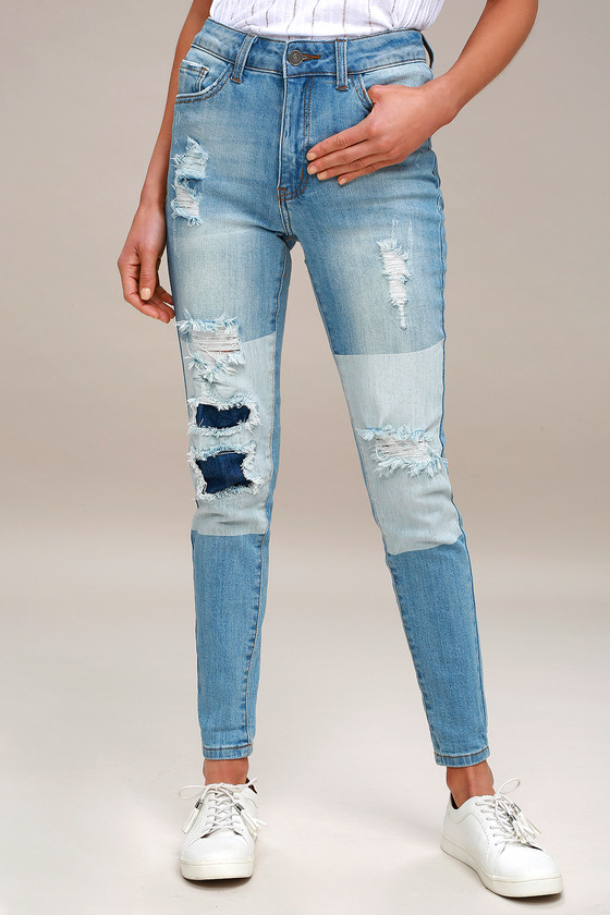 92a16b083f38 Cool Distressed Jeans - Two-Tone Jeans - Light Wash Jeans