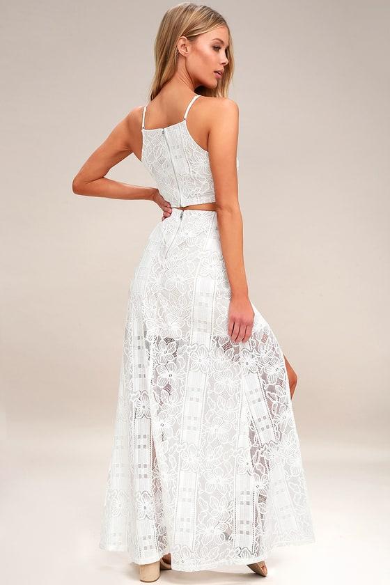 236fbda609c Chic White Dress - Two-Piece Dress - Lace Maxi Dress