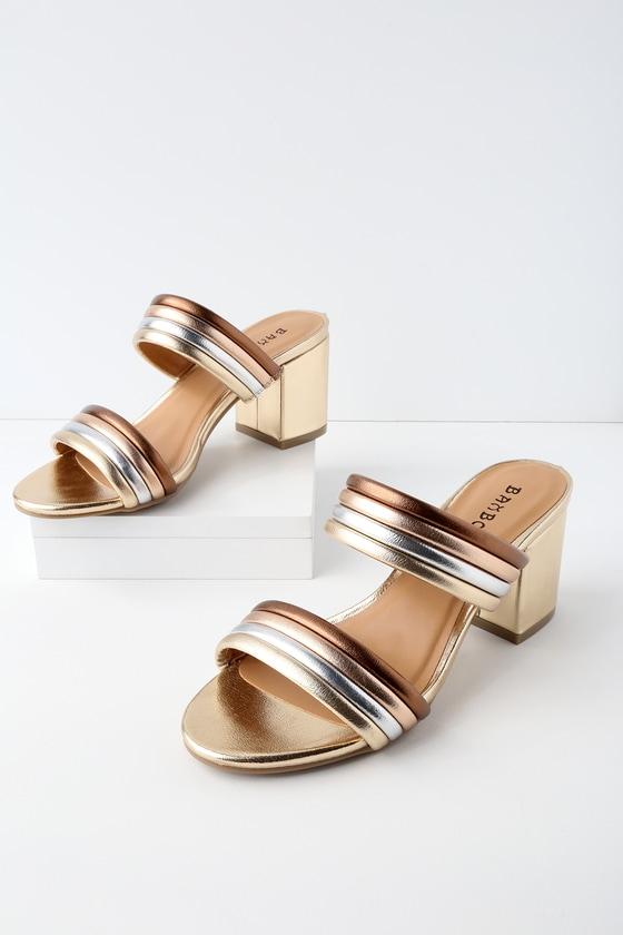 3fbf31bac452 Trendy Gold Multi Mules - Metallic Sandals - Two-Strap Heels