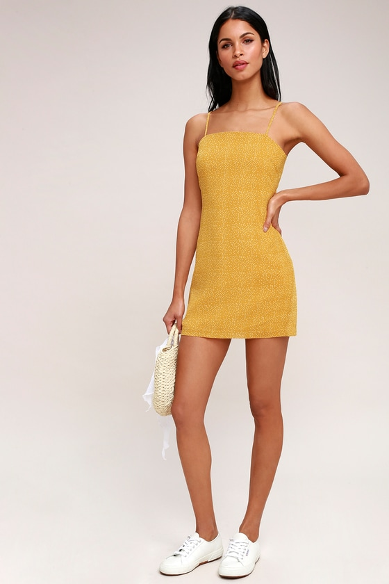 96bb848dda4a Chic Mini Dress - Mustard Yellow Dress - Polka Dot Dress