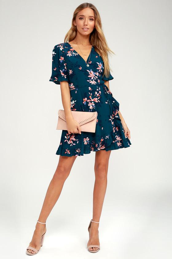 a439f261f35 Lovely Teal Blue Dress - Floral Print Dress - Wrap Dress
