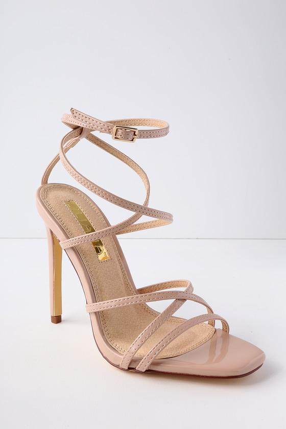 0450889ae120 Sexy Patent Heels - Nude Heels - Caged Heels - Vegan Heels