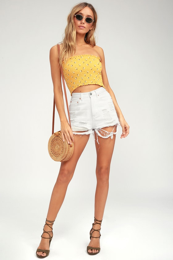 415f145a19a408 Cute Yellow Crop Top - Smocked Top - Floral Print Top