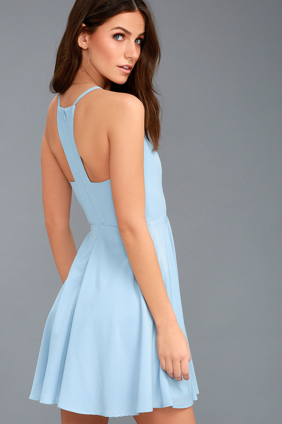 165aedd325c28 Cute Light Blue Dress - Skater Dress - Fit-and-Flare Dress