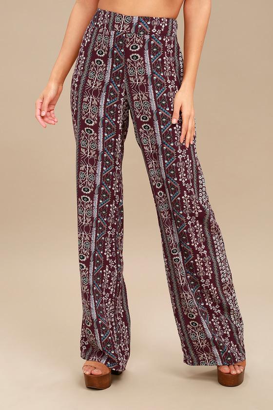 1151ad243 Boho Printed Pants - Wide Leg Pants - Festival Pants