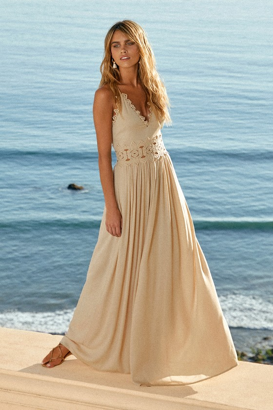 Pretty Beige Maxi Dress Lace Maxi Dress Plunge Neck Maxi