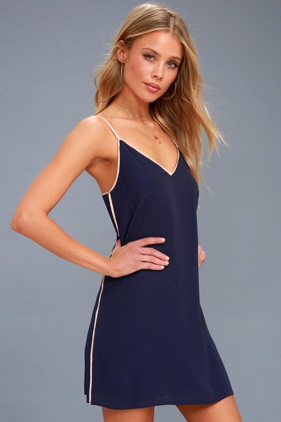 50b6a354cf Cute Shift Dress - Navy Blue Dress - Sleeveless Dress