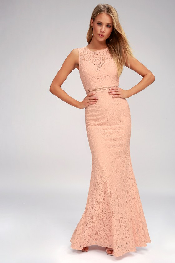 90b86b505d Lovely Blush Dress - Lace Dress - Maxi Dress - Mermaid Dress