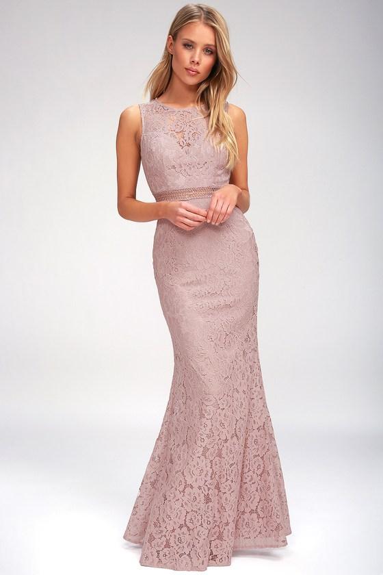 c2f907acf841 Lovely Mauve Dress - Lace Dress - Maxi Dress - Mermaid Dress