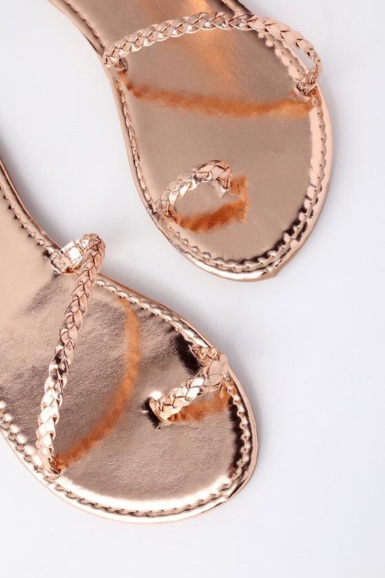 546a3cb51 Boho Sandals - Rose Gold Sandals - Flat Sandals - Toe Loop Sandals - $17.00