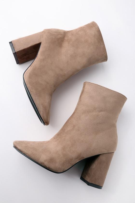 8b02409f19b4 Stylish Vegan Suede Boots - High Heel Boots - Mid-Calf Boots