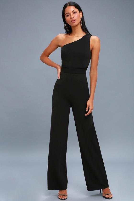 56b39bd1d3be Chic Black Jumpsuit - One-Shoulder Jumpsuit - Black Jumpsuit