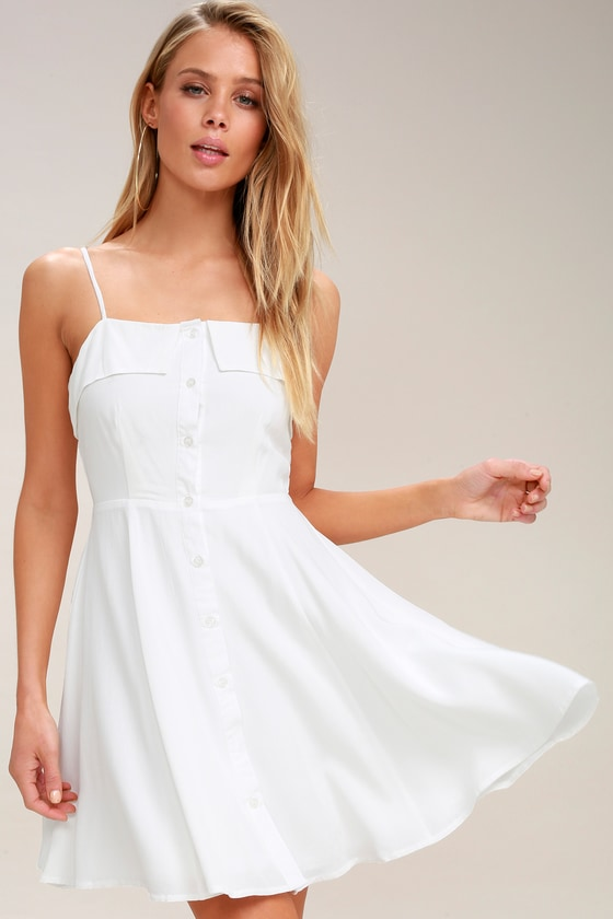 d2561434 Cute White Skater Dress - Button-Front Skater Dress - LWD