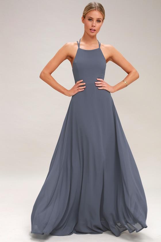 76ef9f75f0 Chic Blue Maxi Dress - Lace-Up Dress - Backless Dress