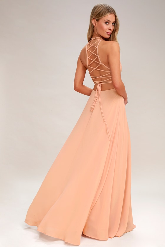 2b4d4728c68 Chic Blush Maxi Dress - Lace-Up Dress - Backless Dress