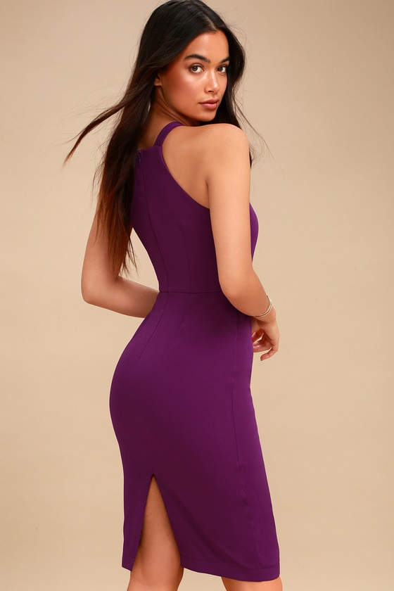 Sexy Purple Dress - Bodycon Dress - Midi Dress