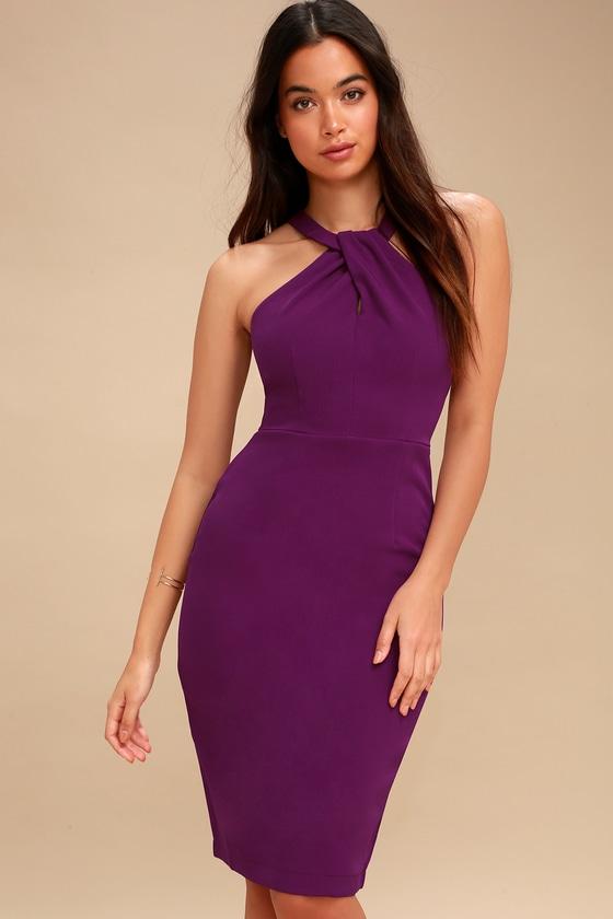 9e01ded58844 Sexy Purple Dress - Bodycon Dress - Midi Dress