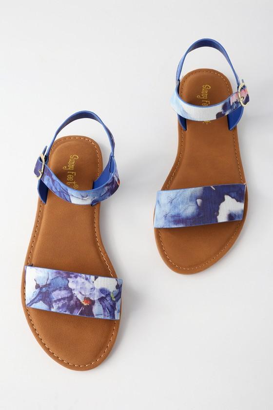 962cd8dff9a3a Cute Blue Sandals - Flat Sandals - Vegan Sandals