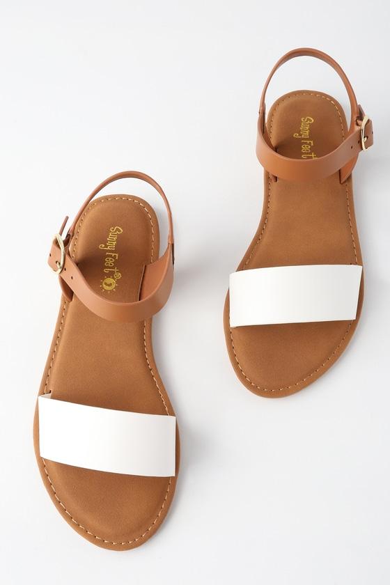 Cute White Sandals Flat Sandals Vegan Sandals