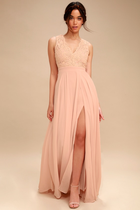 5e1290201fd8 Lovely Blush Pink Dress - Lace Maxi Dress - Backless Dress
