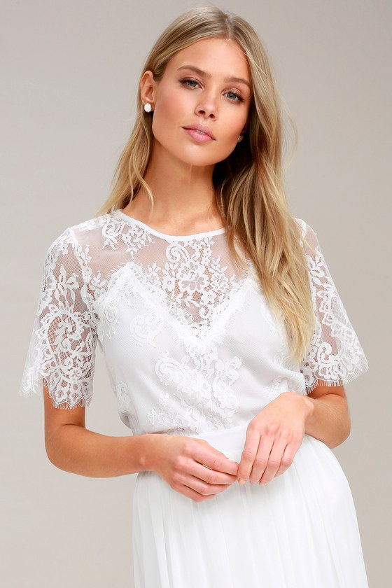 d736c0f9241af0 Chic White Top - White Lace Top - Short Sleeve Top