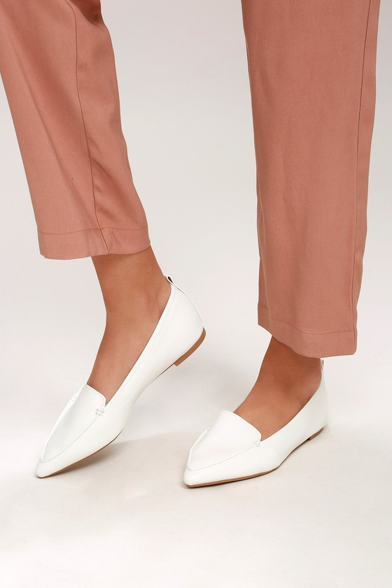 Cute White Loafers - Loafer Flats - Vegan Leather Loafers 9c32cdf27