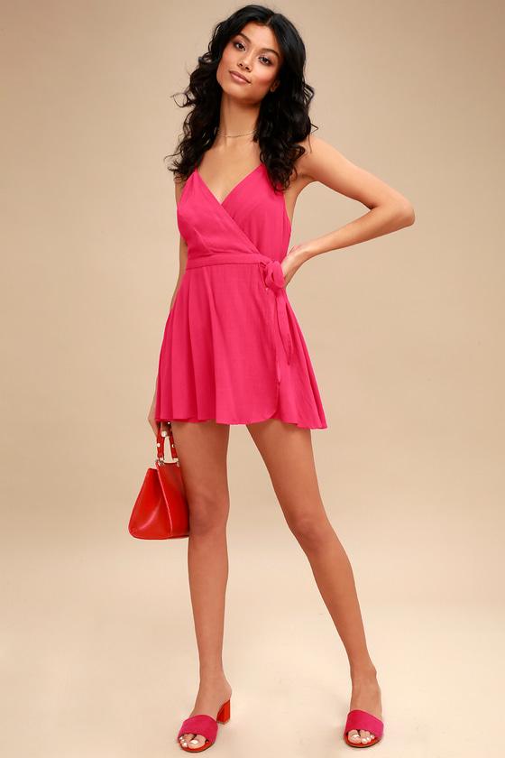 feda93cbcfc60f Cute Fuchsia Dress - Skort Dress - Pink Romper