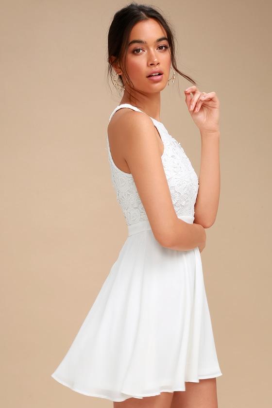 aaca0e79d3 Cute White Dress - Lace Dress - Halter Skater Dress - LWD