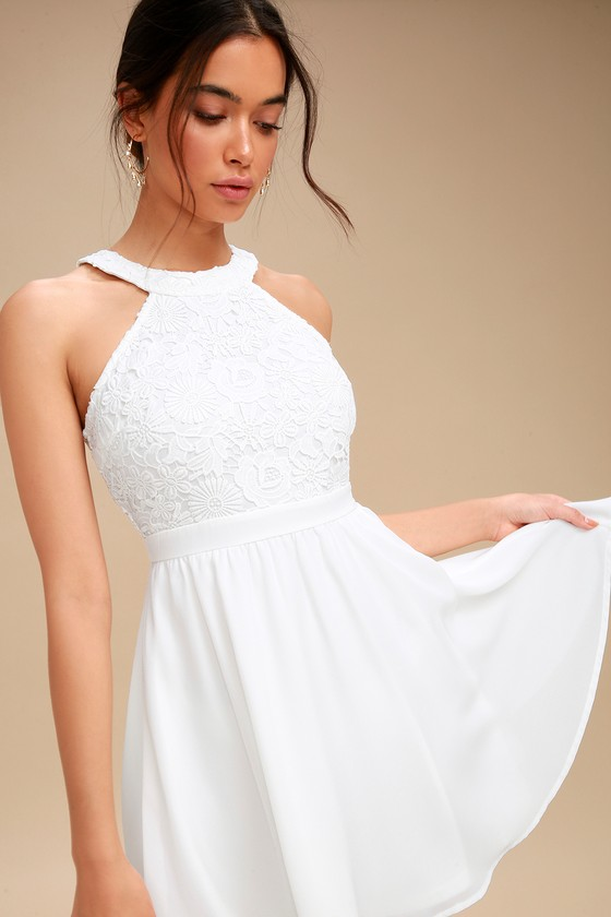 Lover's Game White Lace Skater Dress