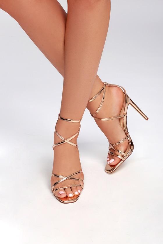 7ca4fca218d2 Sexy Patent Heels - Rose Gold Heels - Caged Heels