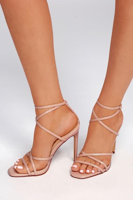 1fd14c6564c Sexy Patent Heels - Nude Heels - Caged Heels - Vegan Heels
