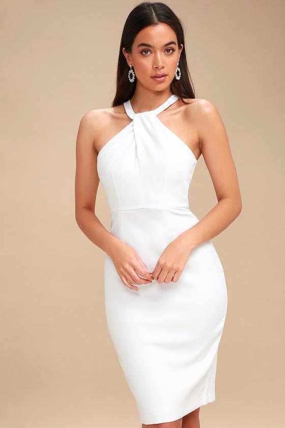 d74907ca48b0 Sexy White Dress - Bodycon Dress - Midi Dress - LWD