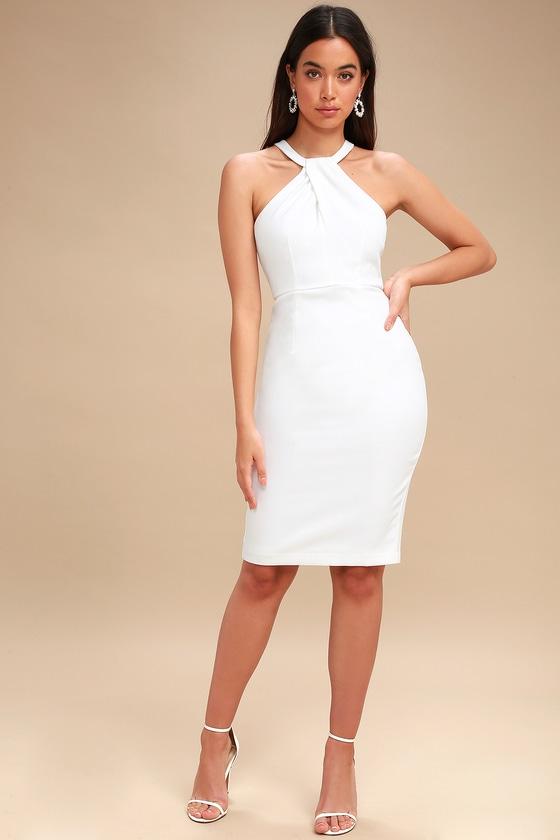 b695edeb80 Sexy White Dress - Bodycon Dress - Midi Dress - LWD