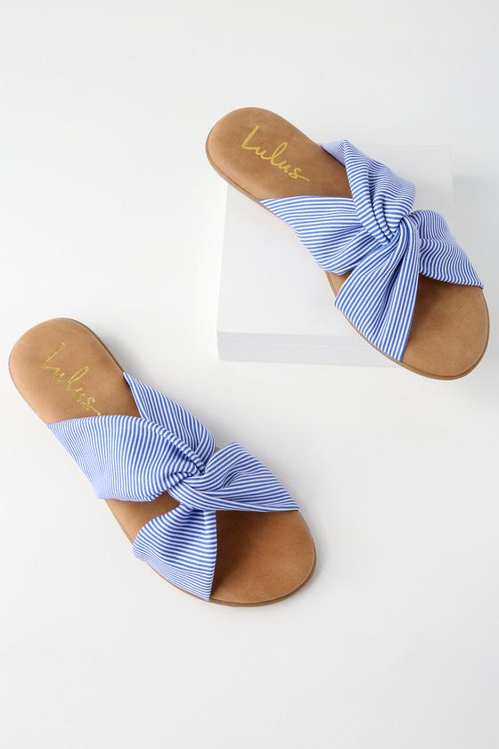 Santana Blue Striped Slide Sandals