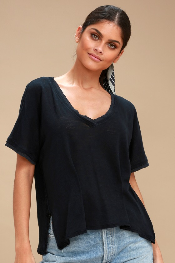 d02dc8c46c2b0 Free People Take Me Tee - Oversized Tee - Washed Black Tee