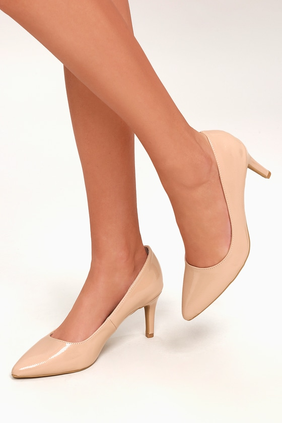 4a4fa74c2c Chic Patent Pumps - Nude Pumps - Kitten Heels - Vegan Pumps