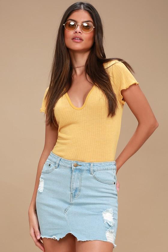 56f325c489 Cute Light Wash Skirt - Distressed Denim Mini Skirt
