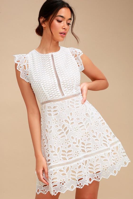 e505a5087b BB Dakota Ariane - White Lace Dress - Lace Skater Dress
