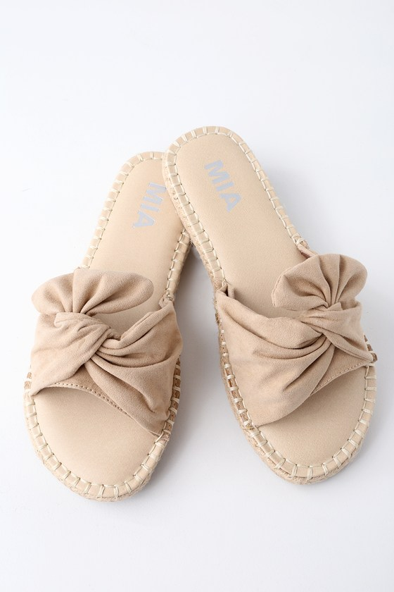 b37d455b5a582a MIA Kensi - Beige Knotted Slides - Espadrille Slide Sandals
