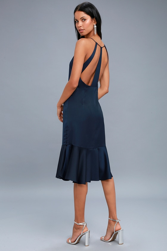 Sexy Navy Blue Dress - Satin Dress - Blue Midi Dress