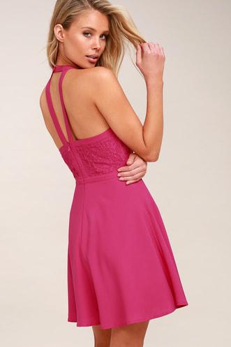 fc884d5d42 All My Daydreams Fuchsia Lace Skater Dress
