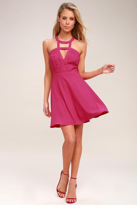 c21b7308de2f Lovely Fuchsia Lace Dress - Lace Skater Dress - Cutout Dress