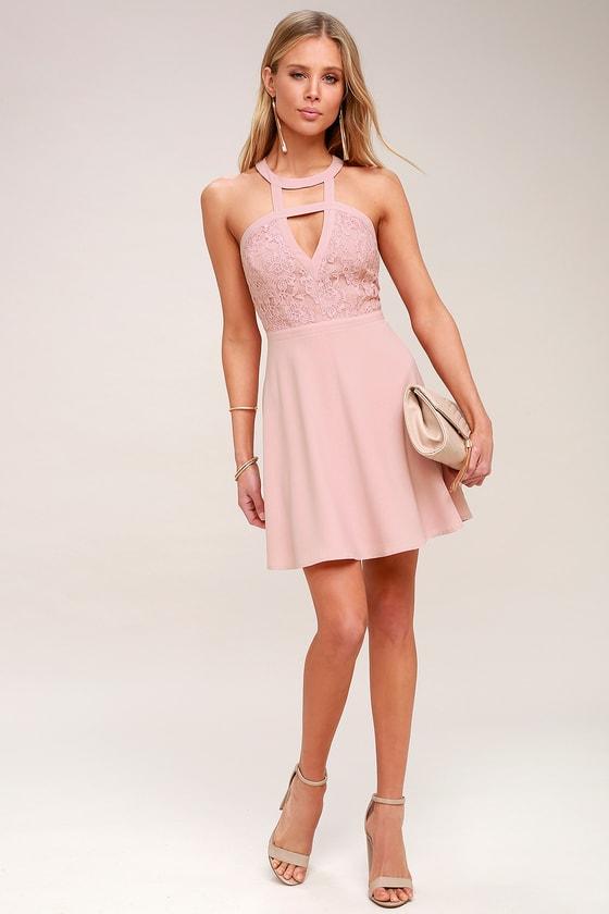 ceb8461f8928 Lovely Nude Lace Dress - Lace Skater Dress - Cutout Dress