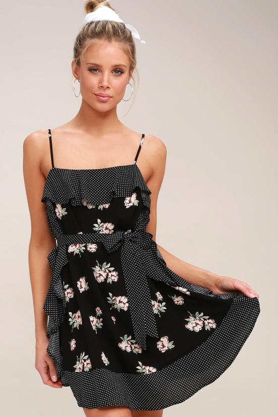 87c83151bf66 Cute Black Floral Print Dress - Polka Dot Dress - Mini Dress