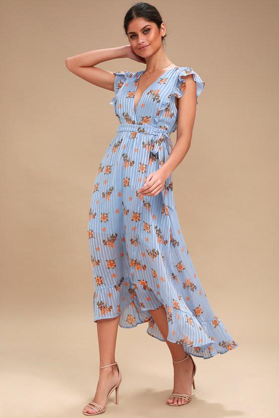 1960s Dresses: New 60s Style Dresses – Jackie O to Mod Lila Light Blue Floral Print Midi Wrap Day Dress - Lulus $138.00 AT vintagedancer.com